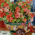 Geraniums And Cats by Pierre Auguste Renoir