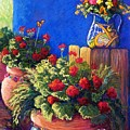 Geraniums And Talavera by Candy Mayer