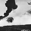 German Biplane Attacks Tank by Underwood Archives