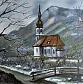 German Church At Ramsau  by Donald Paczynski