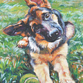 German Shepherd Pup With Ball by Lee Ann Shepard