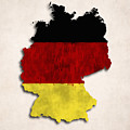 Germany Map Art With Flag Design by World Art Prints And Designs