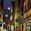 Germany Ulm Old Street Night Moon by Yuriy  Shevchuk