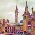 Ghent Canal Scene 2 by Bob Hicks
