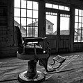Ghost Town Barber Chair Black And White by Adam Jewell