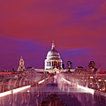 Ghostly Commuters Head To St Pauls On Millennium Bridge by Chris Smith