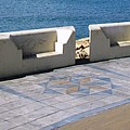 Gibraltar Ocean Promenade Walkway Benches Uk by John Shiron
