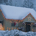 Gingerbread House In Snow by Jim And Emily Bush
