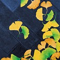 Ginkgo Leaves On Pavement by Ashley Nation