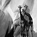 Giraffe Abstract Art Black And White by Gull G