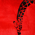 Giraffe Animal Decorative Red Wall Poster 3 - By  Diana Van by Diana Van