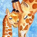 Giraffe Baby And Mother by Carlin Blahnik CarlinArtWatercolor