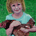Girl And Chicken by Stan Hamilton