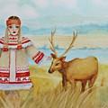 Girl And Deer by Alla Kolerskaya
