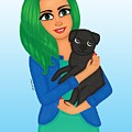 Girl And Dog Pet by Athikan Art