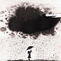 Girl And Ink Cloud Rain by Spencer Whalen