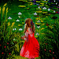 Girl By Lily Pond by Inna Montano