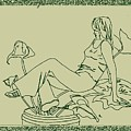Girl Daydreaming In A Potted Plant by Sheri Buchheit