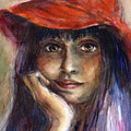 Girl In A Red Hat Portrait by Svetlana Novikova