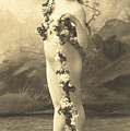 Girl In Body Stocking Holding Garland Of Flowers by French School