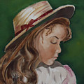 Girl In Ribboned Straw Hat by Charme Curtin