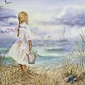 Girl And Ocean Watercolor by Irina Sztukowski