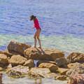 Girl On A Rock by Elaine Teague