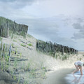 Girl Picking Up Sea Shells by Robert Huber