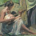 Girl Playing Domra  by Denis Chernov