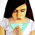 Girl Praying Drawing Portrait By Saribelle by Saribelle Rodriguez