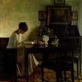 Girl Reading In An Interior  by Carl Holsoe