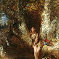 Girl Seated Beside A Woodland Pool by MotionAge Designs