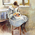 Girl Sewing by Theodore Robinson