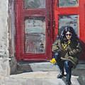Girl Sitting At Red Doorstep by Ylli Haruni