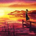 Girl Watching Sunset At The Lake by Irina Sztukowski