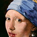 Girl With A Pearl Earring A Reproduction Of Vermeer by Joan Garcia