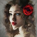 Girl With A Red Rose.. by Prar Kulasekara