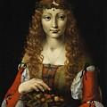 Girl With Cherries  by Giovanni Ambrogio de Predis