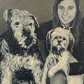 Girl With Dogs In Black And White by Diane Donati