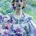 Girl With Flowers by Reid Robert Lewis
