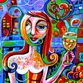 Girl With Glass Of Chardonnay by Genevieve Esson