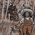 Girl With Hat And Dog Historical Vignette by Dawn Senior-Trask