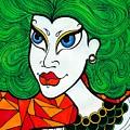 Girl With Lush Green Hair. by Darya Lavinskaya