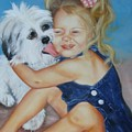 Girl With Puppy by Joni McPherson