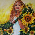 Girl With Sunflowers by Rita Fetisov