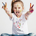 Girl With Victory Sign Sticking Out Her Tounge by Michal Bednarek