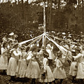 Girls  Doing The Maypole Dance Pacific Grove Circa 1890 by California Views Archives Mr Pat Hathaway Archives