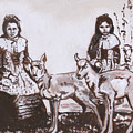 Girls With Pronghorn Fawns Historical Vignette From River Mural by Dawn Senior-Trask