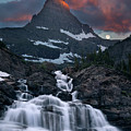 Glacier Morning Waterfall And Moonset by William Freebilly photography
