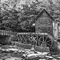 Glade Creek Grist Mill 2 Bw by Steve Harrington